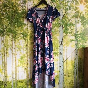 High low dark floral dress